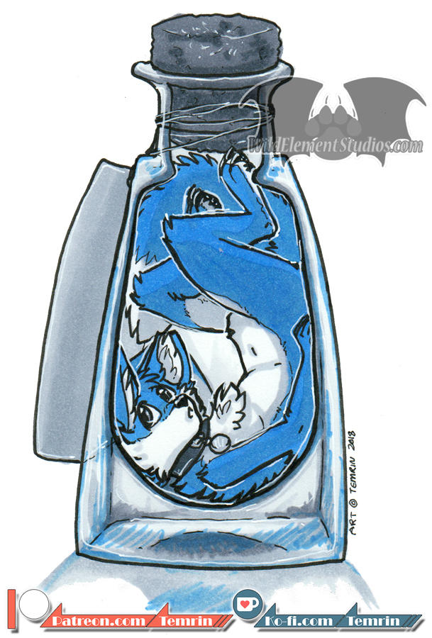 Inktober 2018 - Bottle/Bozo by Temrin