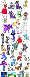 A whole bunch of past Neopets art trades by KatRaccoon