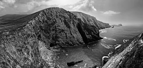 Kerry Cliffs Panorama BW by TarJakArt