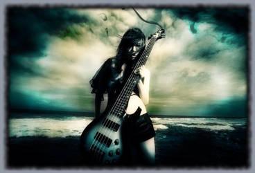 Chthonic - Doris Yeh with bass guitar wallpaper by Lunar-Pilgrim