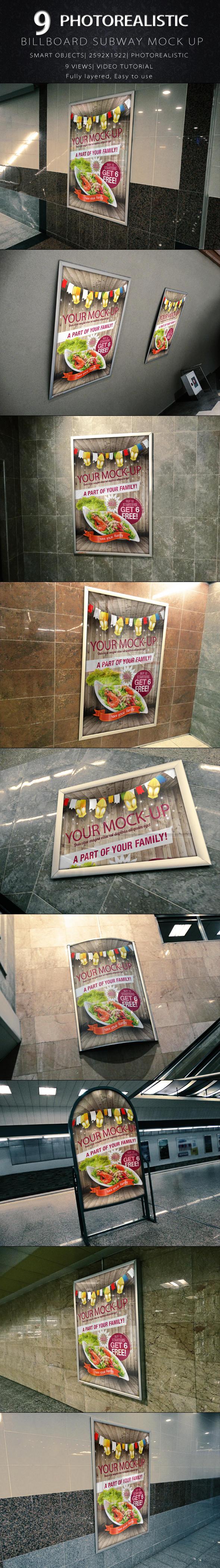 Photorealistic Billboard Subway Mock-Up by KILVAM
