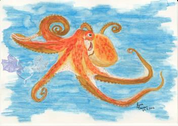 Octopus Postcard by LarraChersan
