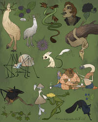 Creatures, Critters, Creepy and Cute Collage by WoodsOfOld