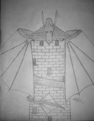 Dragon on a tower by SpiKar