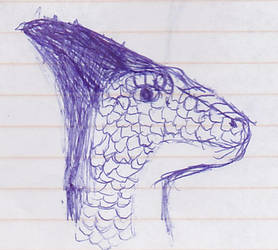 Penned Reptile Head by DancingDragoness