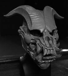 Jersey Devil Skull mask sculpt completed by mostlymade