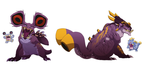 Loudred and Exploud- Soundwave beasts by blueharuka