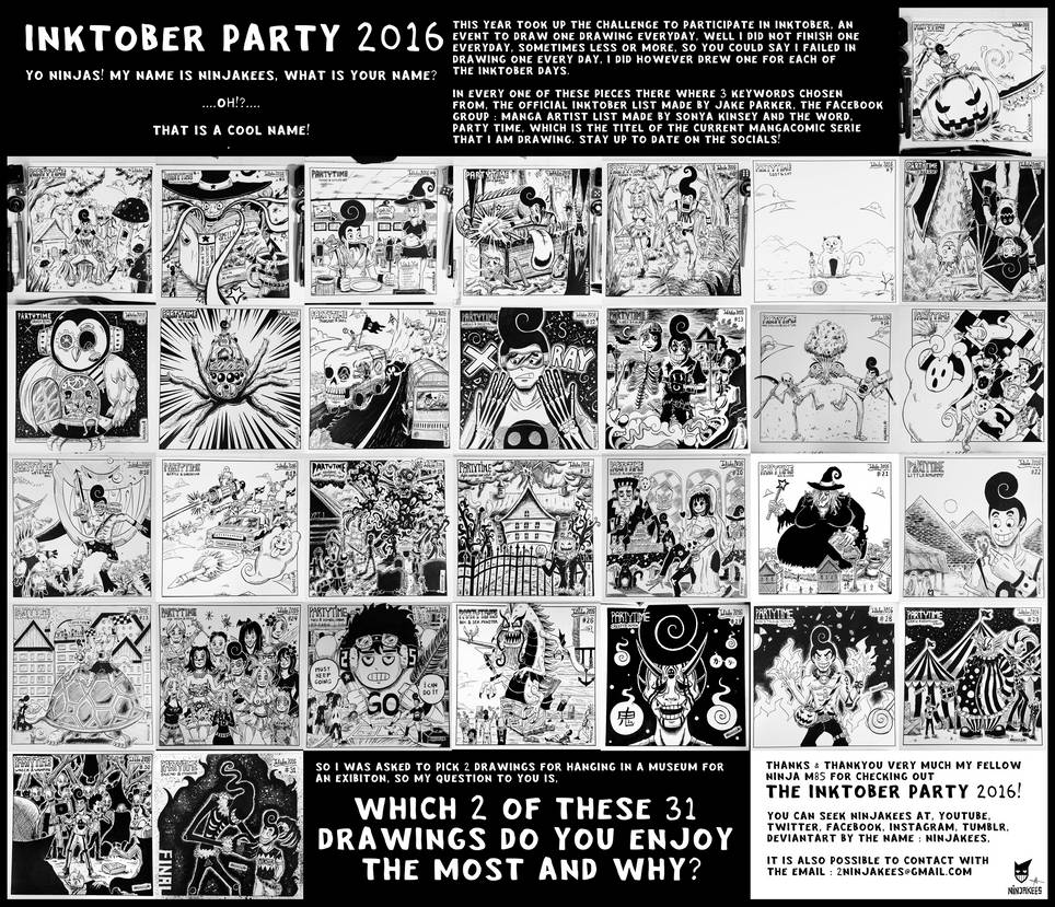 INKTOBER PARTY 2016 - WHICH 2 YOU ENJOY THE MOST!? by N1NJAKEES