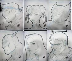 SDCC Head sketches by E-V-IL