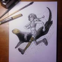 InkTober Day 11 -Run- by MayVig
