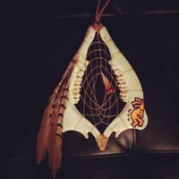 kokopelli deer jaw bone dreamcatcher for sale by inkednativedesigns