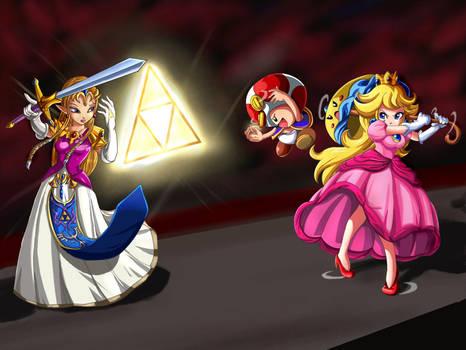 Zelda vs Princess Peach by SigurdHosenfeld