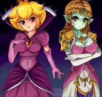 Evil side - Peach and Zelda by SigurdHosenfeld