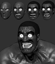 3D Jerry Tyson (Kengan Asura) - sculpting process by TheGoldenSmurf