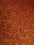 golden leaves on red fabric by synesthesea