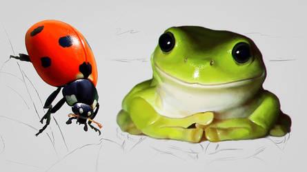 Ladybug And  Merry Frog by SanyLebedev