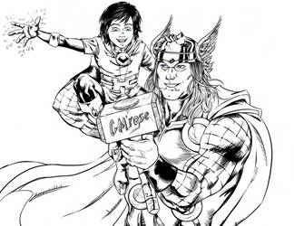Thor and kid Loki by GoldieMilrose