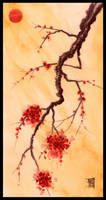Red Sun and Plum Blossoms by HOULY1970