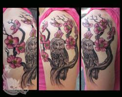 Cherry Blossom Owl by JakubNadrowski