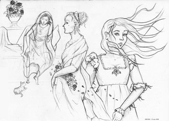 Ladies, flowers and a kitty [Sketch Dump] by ElissaKarminakria