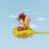 Goku 'n Kuririn by myrllok