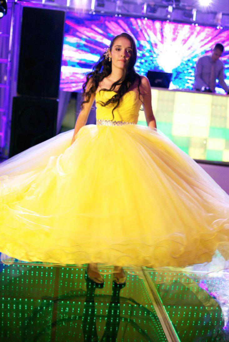Giant yellow hoop dress by Albertarias