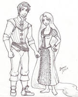 Flynn and Rapunzel by Snowy-Dragoness