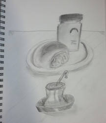 Honey bottle and buns. by Pirasenshi
