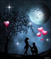 Declaration au Clair de Lune  pour St Valentin by MireilleD