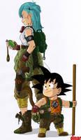 Son Goku and Bulma by OmaruIndustries