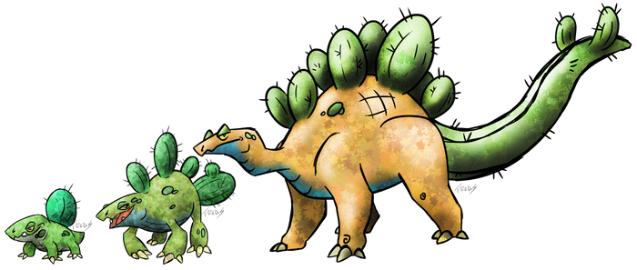 Cactus Stegosaurus Fakemon by T-Reqs