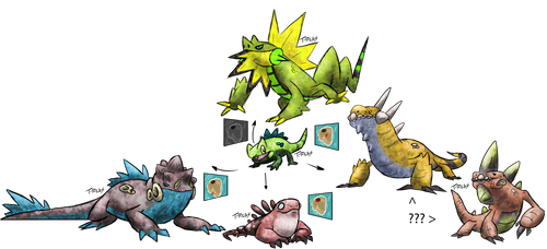 Iguana Evolution Fakemon by T-Reqs