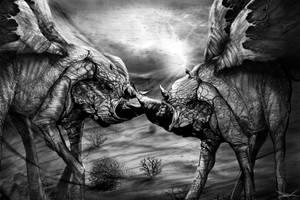 FlyRhino's Fight by RuslanKadiev