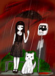 Waiting on the bus in the rain by Danielle-chan