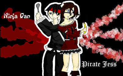 Ninjer Dan and Pirate Jess by twisted-bunnies