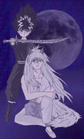 Kurama and Hiei in moonlight by Arigatoumina