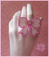 Pixel Bow White Ring by Gloomyswirl