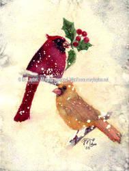 Christmas Cardinals by MaryLayton
