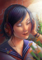 Head Phone Girl by Lun-art