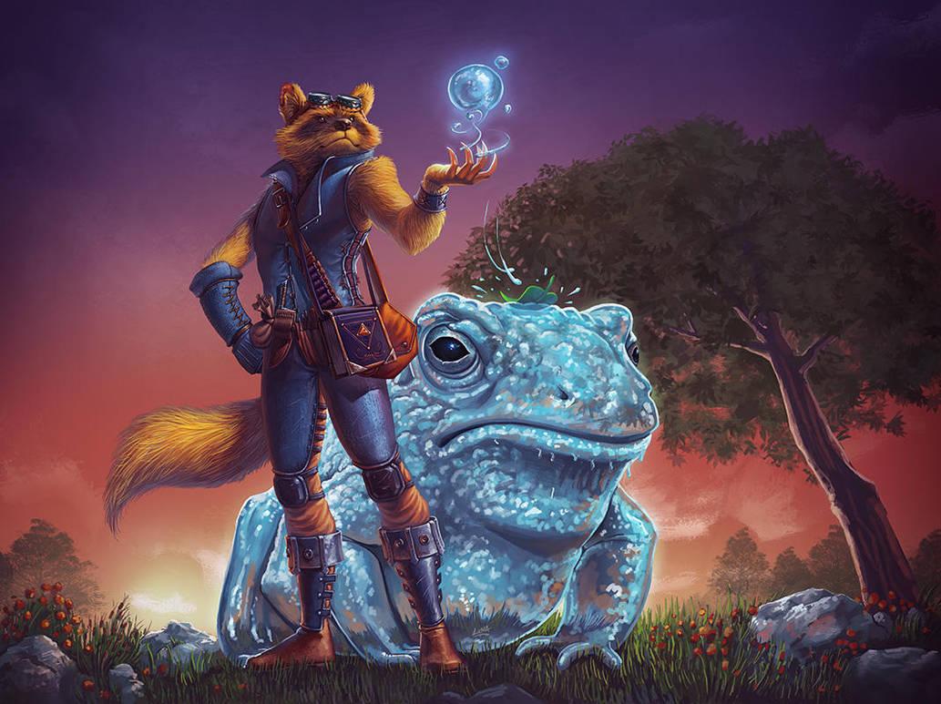 Shukaku - Raccoon Toad by Lun-art