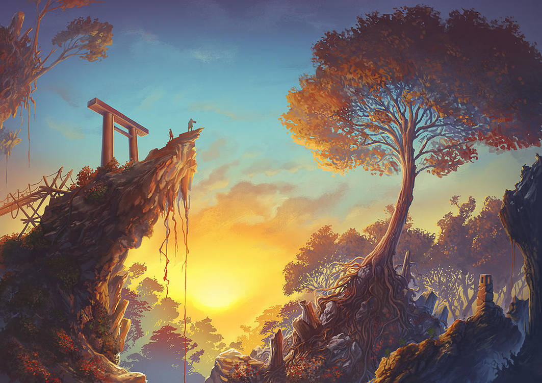 Torii Dawn by Lun-art