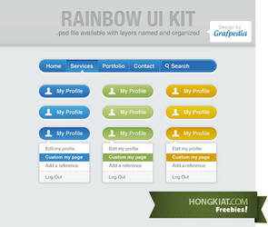 Rainbow UI Kit (PSD) by hongkiat