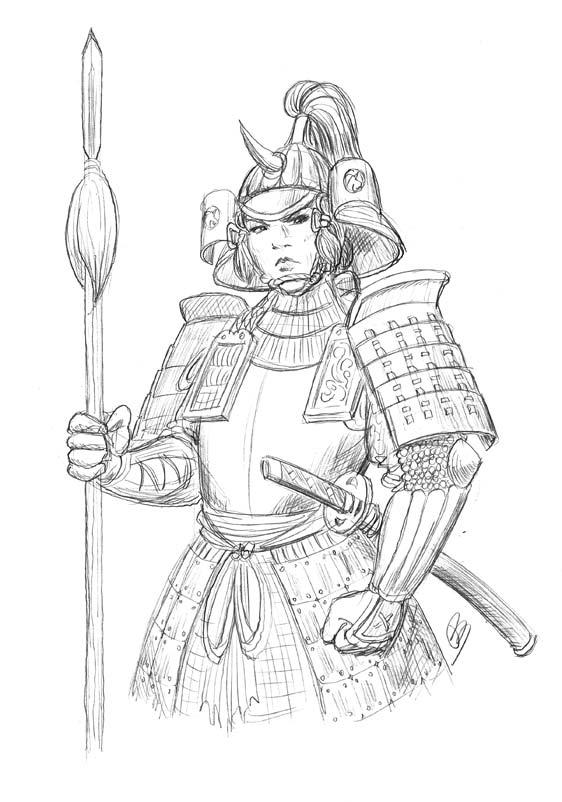 Samurai-ko sketch by Kumanagai