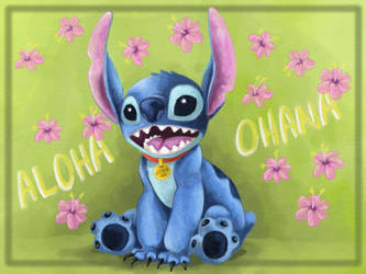 Stitch aloha postcard by PMSingTiger