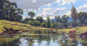 Cows in the Creek by postapocalypsia