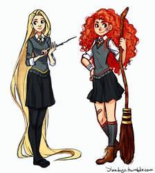 Merida and Rapunzel: Hogwarts AU by YukiHyo