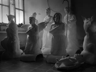 nativity scene by cadejoblackandwhite