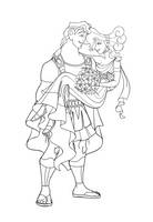 Hercules Wedding lineart by Wickfield