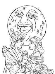 Classic Disney Movies Aladdin Lineart by Wickfield