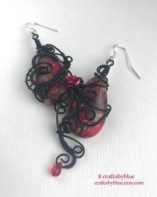 Dark Secrets - Elegant Gothic Red Jasper Earrings by craftsbyblue